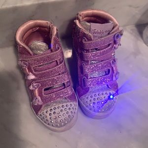 TWINKLE TOES skechers velcro high top light up